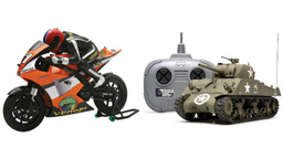 R/C Motorcycles,  Tanks, & Semi Trucks
